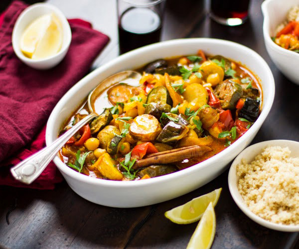 Roasted Eggplant, Chickpea and Summer Vegetable Tagine from The Bojon Gourmet