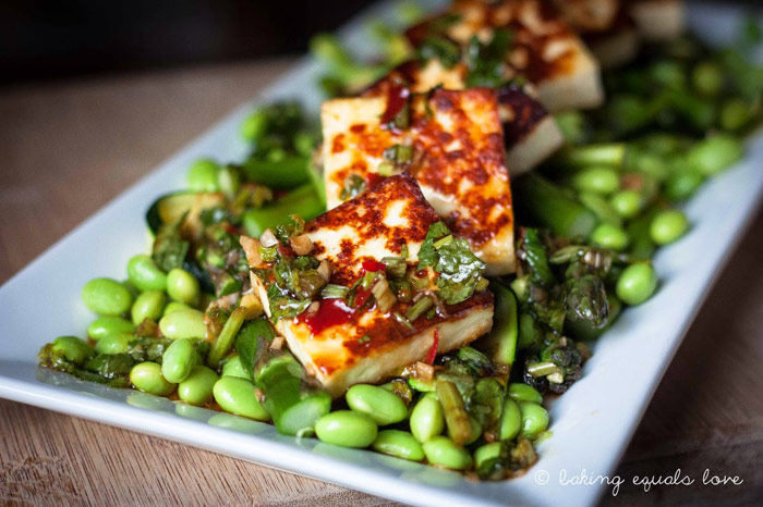 Grilled Paneer, Edamame, and Asparagus Salad with Soy Coriander Vinaigrette