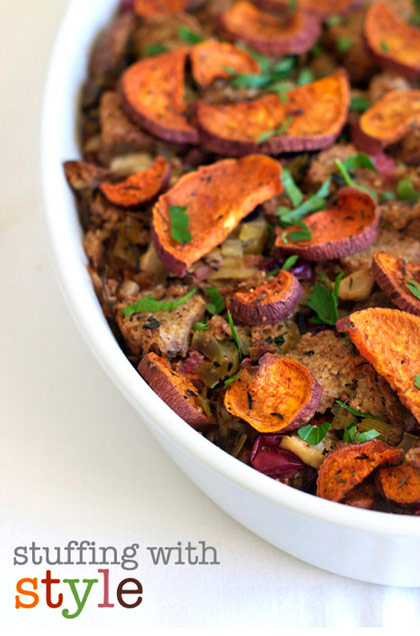 stuffing with sweet potato and cranberries