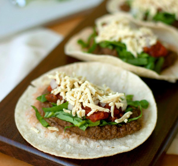 Healthy Homemade Refried Bean Tacos  plus 8 Other Vegetarian Taco Recipes