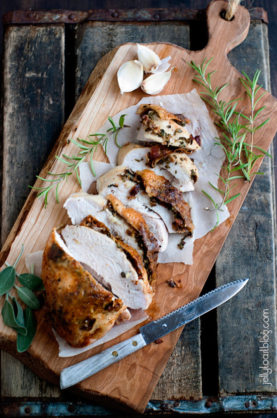 Bacon and Herb Roasted Turkey Breast from Jelly Toast plus 9 other Thanksgiving turkey recipes