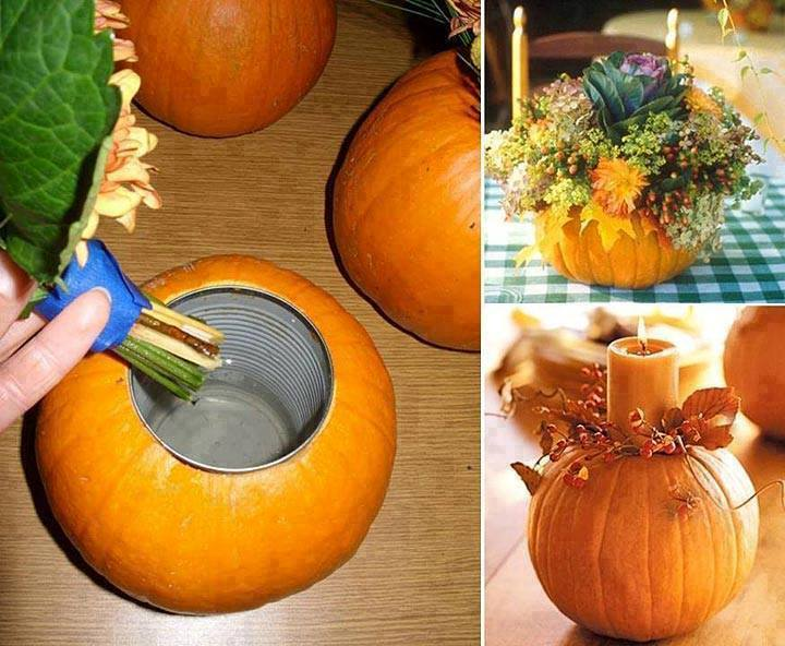 How to make a pumpkin vase centerpiece noshon