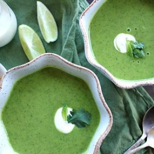 Zucchini Cilantro Soup with Chile and Mint