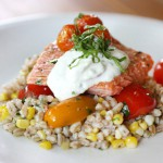 Slow Roasted Salmon with Cherry Tomatoes and Farro